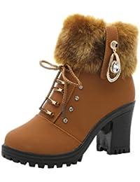 Zapatos por ESAILQ Botas de Felpa de Invierno para Mujer Botas de Plataforma de Martin High Heels por ESAILQ
