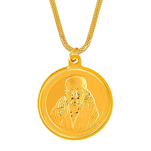 Shining Jewel 24K Gold Plated Sai Baba Coin Pendant and Necklace (SJ_2278)  available at amazon for Rs.214