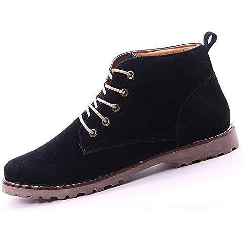 Gleader Nueva moda britanicos para hombre Casual de encaje gamuza Botines Mocasines Zapatillas de deporte Negro ( Tamano:39