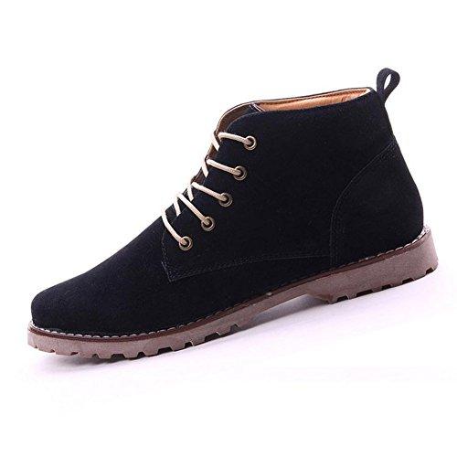 Gleader Nueva moda britanicos para hombre Casual de encaje gamuza Botines Mocasines Zapatillas de deporte Negro ( Tamano:41 )