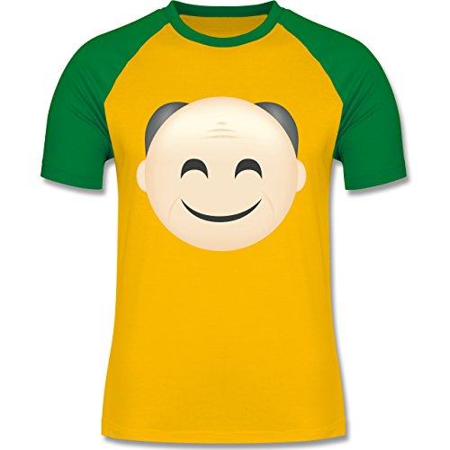Opa - Opa Emoji - zweifarbiges Baseballshirt für Männer Gelb/Grün