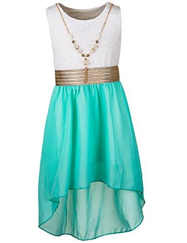 Kinder Sommer Fest Kleid für Mädchen Sommerkleid Festkleid mit Kette in vielen Farben M288wgn...