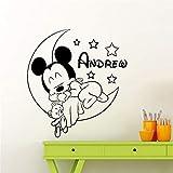 Mickey Mouse Sticker Mural Decal Mickey Mouse Vinyle Stickers Muraux pour Chambre D'enfants Personnalisé Nom Amovible Decal Bébé Chambre