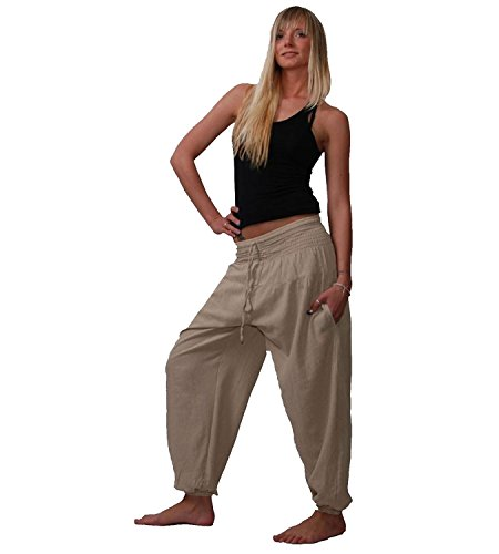 Pluderhose Haremshose Sommerhose Hippie Goa Wellness Yoga Hose, Größe:34-38(S/M), Farbe:Hanffarben