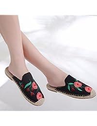 GTVERNH Zapatos de Mujer/con Falda De Verano De Fondo Plano Salvaje Estudiantes Baotou Semi - Remolques Sandalias...