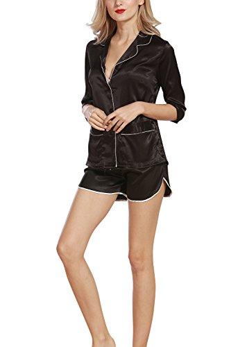 Dolamen Femme Pyjamas Satin, Chemises de nuit Femmes, Femmes Ensemble de Pyjama, Luxe & Lingerie Chemise à carreaux Avec poche chemise de nuit Court Noir