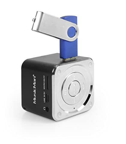 MusicMan Mini Soundstation (MP3 Player, Stereo Lautsprecher, Line In Funktion, SD/microSD Kartenslot)