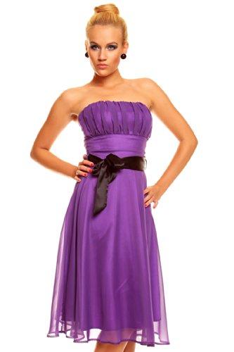 Knielanges Bandeau Kleid Chiffon Ballkleid Abendkleid Cocktailkleid Festkleid XS bis XXL L (38) Lila