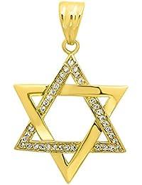 Large 40mm 14k oro plateado judía estrella de David Cubic Zirconia colgante + Microfiber Jewelry Polishing