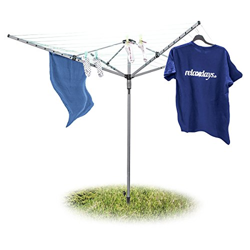 Relaxdays Wäschespinne 49 m H x B x T: ca. 184 x 242 x 242 cm  Wäscheständer mit reißfester Leine mit 4 Seiten und stabilem Stand durch Erdspieß und Bodenhülse für den Hinterhof und Garten, silber