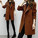 Weiwei Winter Warm Woolen Womens Casual Solide Langarm Jacke Mantel