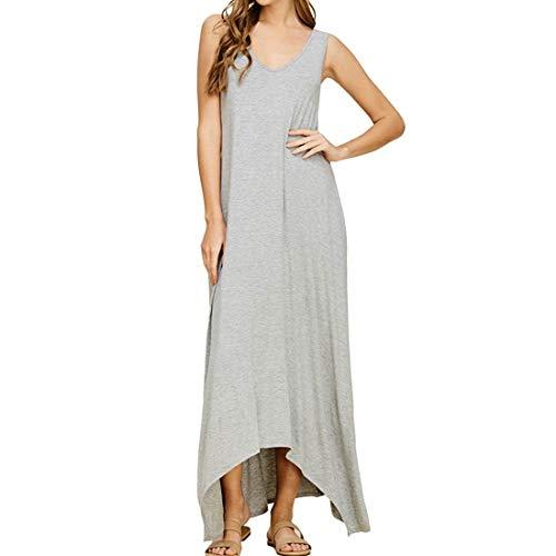 002 Ärmelloses Kleid für Damen beiläufige Lange Maxi-Kleid mit Taschen (Color : Gray, Size : M)