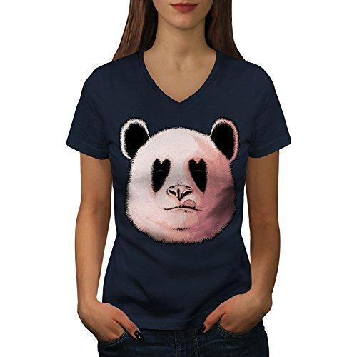 wellcoda Panda Lecken Feuerstelle Tier Frau S V-Ausschnitt T-Shirt