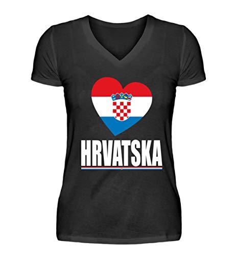 Hochwertiges V-Neck Damenshirt - Kroatische Flagge T-Shirt Hrvatska Kroatien Fan Trikot Fussball Geschenk