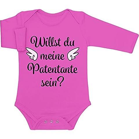Geschenkidee - Willst du meine Patentante sein? Baby Langarm Body 50/56 (0-3M) wow rosa
