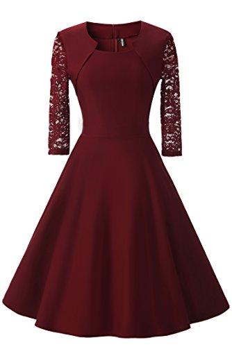Gigileer Damen Kleider 3/4 Arm mit Spitzen Knielang Abendkleid Minikleid festlich Cocktail Party Burgundy M