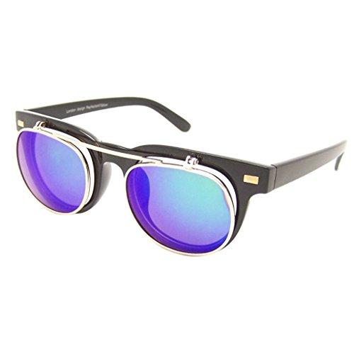 Retro Sonnenbrille 50er Jahre Vintage Flip up Glasses Damen Herren RF197 (BLAU VERSPIEGELT)