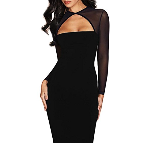 SCHLUSSVERKAUF Damen bezaubernd Spitze Elegant Beiläufig Solide Fischernetze Lange Ärmel Schlank Cocktail Party Minikleid (M, Schwarz) (Polyester Disco Shirt)