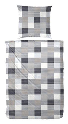 Seersucker Bettwäsche Premium 216008 100% Baumwolle in Grau Kiesel 135x200 + 80x80 cm