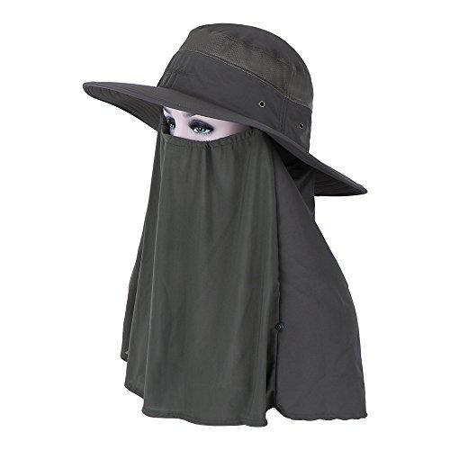 NatureFun Sombrero de pesca 360 ° Protección UV Gorra Sun Boonie Hat, UPF 50+ Hombres de verano Mujeres Extraíble Cuello Cubierta de la cara Máscara para caminar Jardinería Beach Camping Canotaje Actividades al aire libre