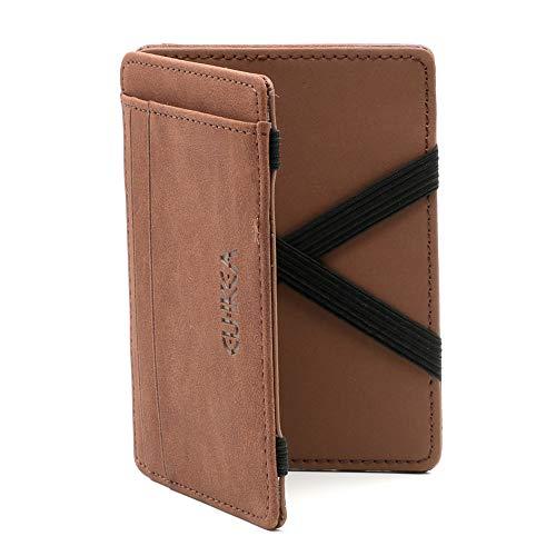 Magic Wallet mit Münzfach Reißverschluss Braun - Slim Wallet aus Leder - Super Flacher Geldbeutel für Herren von JOriginal -
