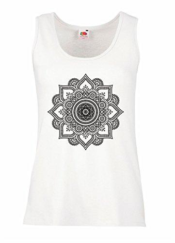 LaMAGLIERIA Camiseta de Tirantes Mujer Mandala Black Print Man02-100% algodòn, M, Blanco