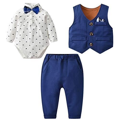 famuka Baby Anzüge Baby Junge Sakkos Taufe Hochzeit Babybekleidung Set (Blau 3, 59cm/3-6Monate)