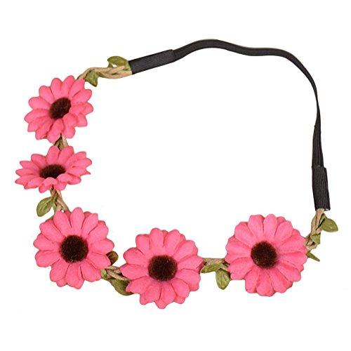 dylandy Headband Hairband Haar Wrap-Sonnenblume Hairband Daisy Blumen Stirnband Girlande Blume Stirnband mit Gummiband, verstellbar Hairband für Damen, Blumen (gelb)