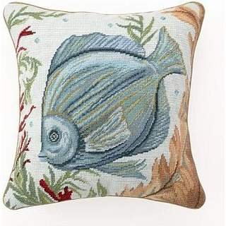 JudyArtOnlineStore Cotton Linen Decorative Throw Pillow Case Cushion Cover Sea Life Fish Needlepoint Pillow 18 X 18 inches