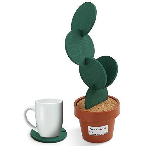 Gläser Sets Trinken Retro (F-Sport Tassenuntersetzer / Kaffeeuntersetzer, mit einer Halterung wie eine grüne Topfpflanze, lustige Untersetzer für Heimdekoration, Tischdekoration, kreatives und tolles Geschenk, Grün, 6 Stück)
