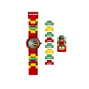 Armbanduhr Lego Batman Movie – Robin, inklusive 12 zusätzlichen Armbandgliedern, Lego Minifigur im Armband integriert, analoges Ziffernblatt, kratzfestes Acrylglas