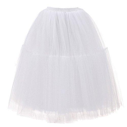 POIUDE Damen 50s Vintage Tüll Petticoat Tutu Rock Bridal Petticoat Unterrock für Ball Abend Hochzeit Gelegenheit Zubehör(Weiß, Gratis - Größe)