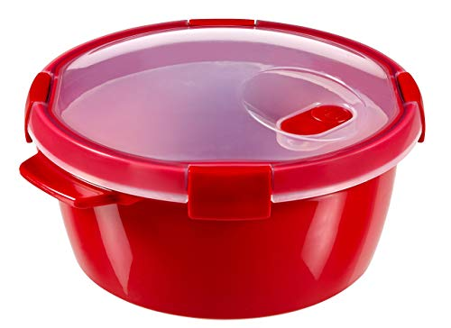 CURVER 232576Mikrowellen-Dampfgarer, rund, Kunststoff, Rot, 22x22x11cm, 1,6l