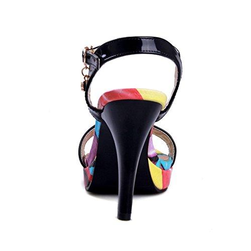 VogueZone009 Donna Pelle Di Maiale Puro Fibbia Tacco Alto Sandali Nero