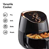 VonShef 5L Air Fryer for Healthy Low Fat Cooking with Adjustable Temperature Control and Timer – 2000W – Black and Copper