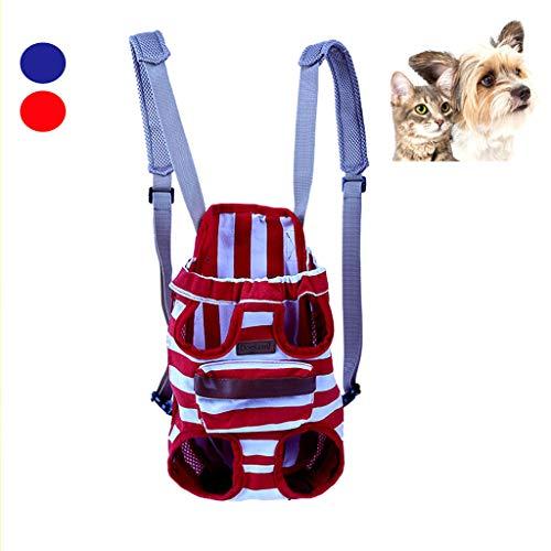 JXM Haustier Reisetasche Regenbogen Gestreifte Katze Hund Rucksack Atmungsaktive Rucksack Brust Tasche Aus Tragbaren Canvas Reisen Wandern Camping Geeignet Für 3,5-6.5 Kg,Red,L (Tasche Camping Canvas)