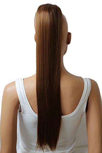 PRETTYSHOP Postiche queue de cheval d'extension de cheveux queue de cheval chaleur lisse résistant 70cm brun # 6 H80