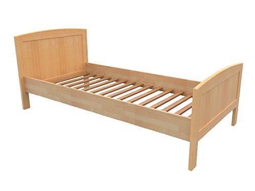 Erst-Holz® Seniorenbett Einzelbett 100×200 Futonbett Buchebett Natur Massivholz Rollrost 60.72-10