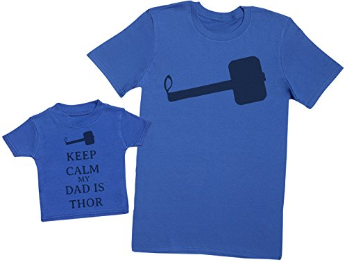 Keep Calm My Dad is Thor - Ensemble Père Bébé Cadeau - Hommes T-Shirt & T-Shirt bébé - Bleu - Large & 3-6 Mois