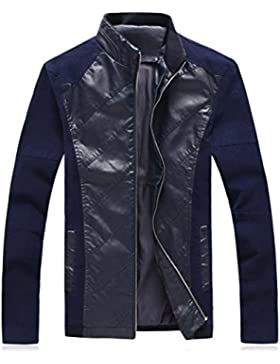 Zhuhaitf Estilo Casual Mens Faux Leather Jackets Long Sleeve Slim Fit Outerwear Windbreaker