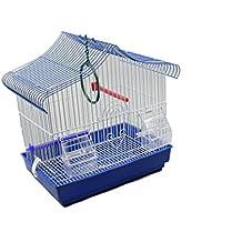 DZLJaula para pajaros con comederos(34.5X28X49.5) azul marino, azul claro y purpura color al azar