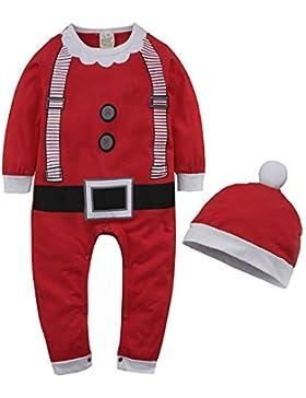 Monlia Baby Weihnachten Strampler Unisex Overall Strampelanzug mit Hut Babykleidung Neugeborenen Overall