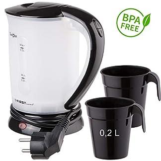 TZS-First-Austria-05L-Reisewasserkocher-mit-2-Becher-700-Watt-Mini-Wasserkocher-Camping-Wasserkocher-Reise-Wasserkocher-Wasserkocher-automatische-Abschaltung-berhitzungsschutz-schwarz-BPA-frei