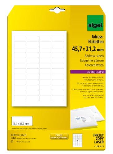 Preisvergleich Produktbild Sigel LA315 abgerundete Adress-Etiketten weiß, 45,7 x 21,2 mm, 1200 Etiketten = 25 Blatt