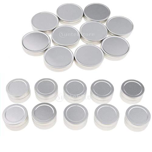 B Baosity 20pcs 10ml Vide Pots Cosmétiques Lèvre Baume Récipient en Aluminium Pot Bouteilles Capuchons