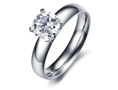 Jasmineees Schmuck Damen Ring,Runde Form Intarsien CZ Zirkonia Einfach Edelstahl Trauringe Ehering Verlobungsringe für Damen Frau Ring Weiß Größe 54(17.2)