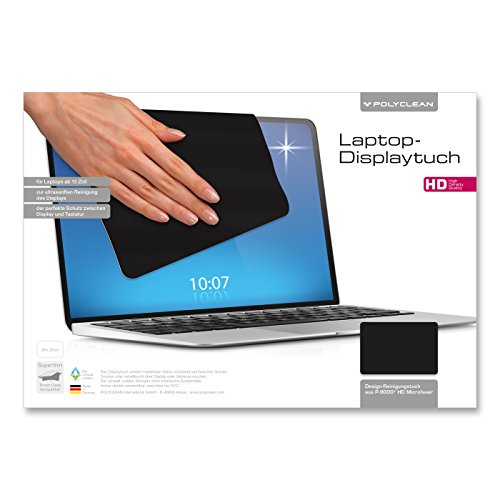 POLYCLEAN 1x Displaytuch – Reinigungstuch für Tablet, Notebooks & Laptops – Schutztuch für Bildschirm, Tastatur & Monitor (29 x 20 cm, Schwarz, 1 Stück)