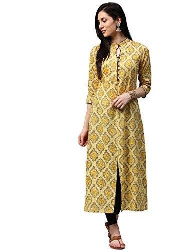 RAMRATH Women's Cotton A-Line Printed Kurti (Yellow & Mustard_XX-Large)