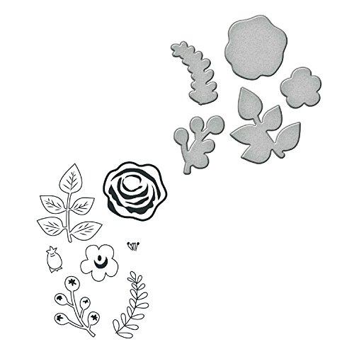 Unbekannt Spellbinders Floral Divine Stempel/Sterben Set, Metall, Mehrfarbig Platinum-berry