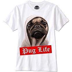 Camiseta maga corta color blanca con pug life
